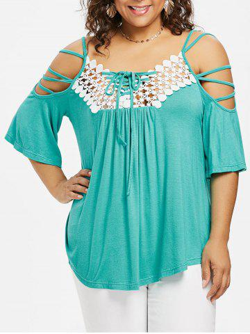 Fashion ROSEGAL Plus Size Open Shoulder Strappy T-shirt