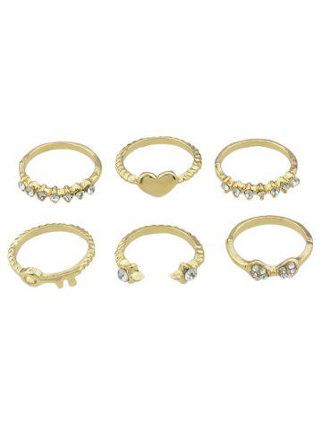 Cheap Heart Shaped Rhinestone Decoration Ring Set