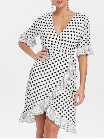 Affordable Bell Sleeves Dotted Flounce Dress