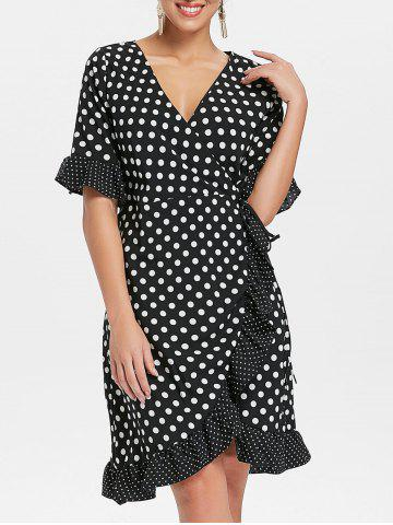 Buy Bell Sleeves Dotted Flounce Dress