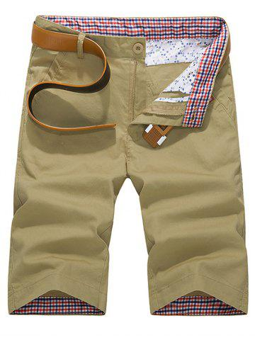 Discount Check Print Panel Zipper Fly Bermuda Shorts