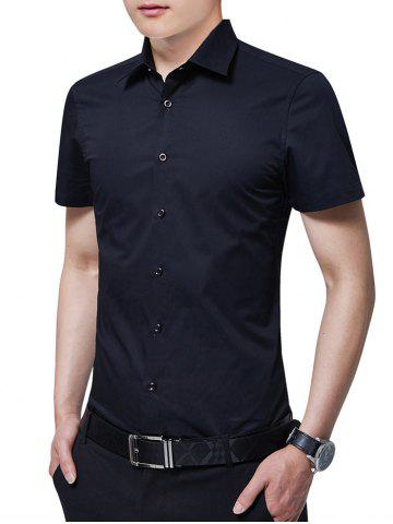 Outfit Turn Down Collar Solid Color Business Shirt