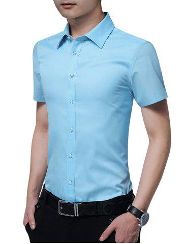 Affordable Button Up Solid Color Slim Fit Shirt