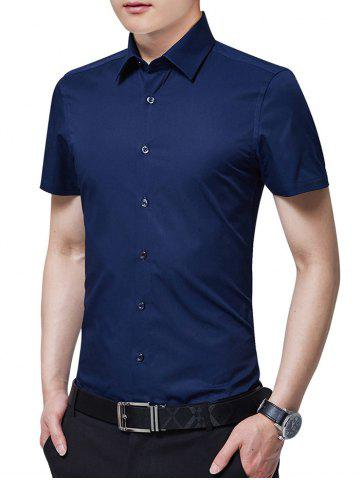 Fancy Turn Down Collar Solid Color Business Shirt