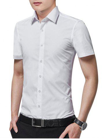 Latest Turn Down Collar Solid Color Business Shirt