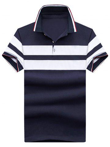 Affordable Wide Stripe Short Sleeve Polo T-shirt