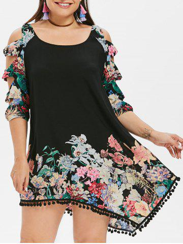 Plus Size Shredding Cut Floral Tunic Dress - Black - L