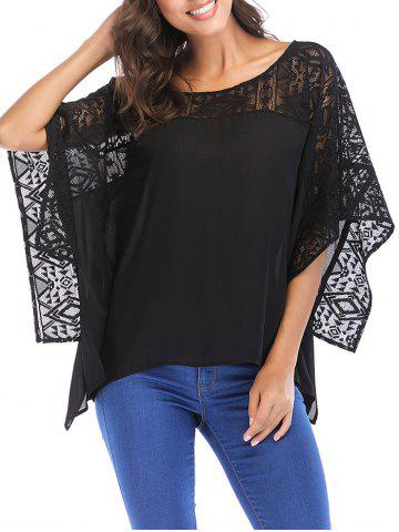Trendy Lace Round Neck Batwing Sleeve Loose Blouse