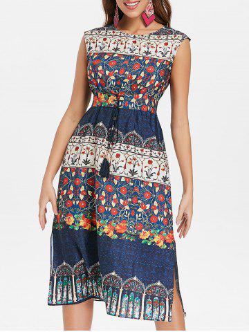 Affordable Lace Up Waist Midi Print Dress