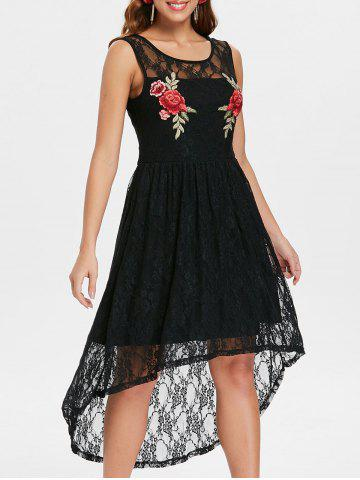 Hot Flowered Embroidery High Low Lace Dress