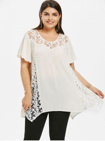 T-shirt Plus Size Swing Lace Cutwork
