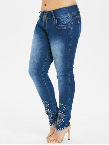 Outfit Plus Size High Waist Embroidery Jeans