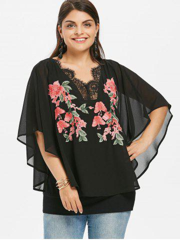 Rosegal Plus Size Embroidery V Neck Overlay Blouse