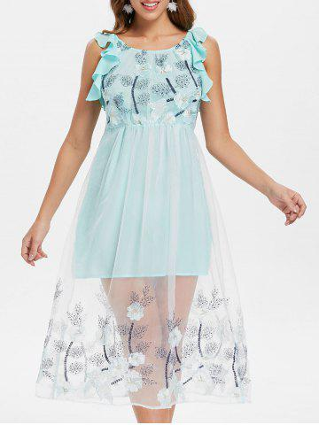 Online Mesh Insert Floral Embroidery A Line Dress
