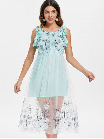 Mesh Insert Floral Embroidery A Line Dress