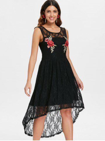 Flowered Embroidery High Low Lace Dress