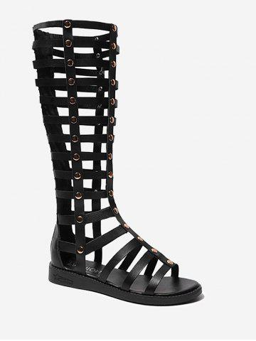 Strappy Mid Calf Gladiator Chic Sandals