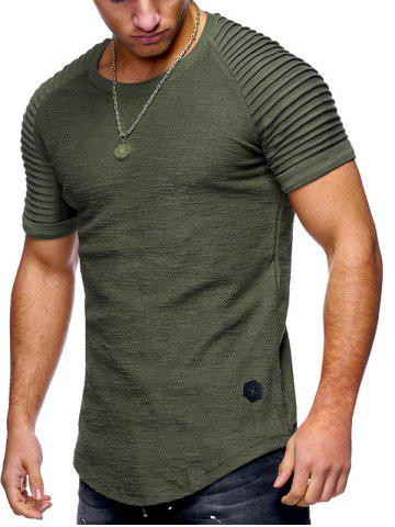 e35d75a38937 54% OFF   2019 Solid Color Pleated Sleeve Curved Hem T-shirt ...