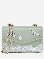 Embroidery Chain Flapped Patchwork Crossbody Bag -
