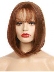 Short See-through Fringe Straight Bob Synthetic Wig -