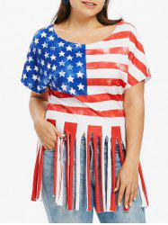 Plus Size Fringe American Flag Patriotic T-shirt -