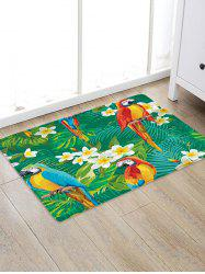 Uhommi Parrots Flowers Rainforest Plants Printed Antiskid Floor Mat -