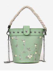 Chic Flower Embroidery Studs Handbag -
