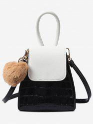 Pompom Geometric Shaped Color Block Handbag with Strap -