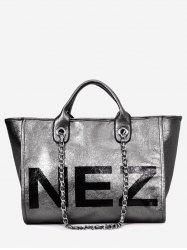 Casual Outdoor Letter Print Tote Bag with Chain -