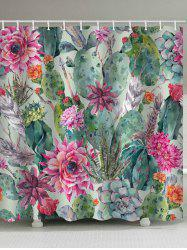 Cactus Flower Plant Print Waterproof Shower Curtain -