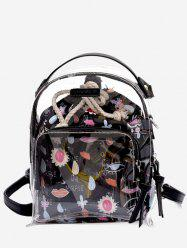 Leisure Beach Transparent Print 2 Pieces Backpack Set -