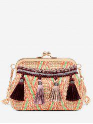 Leisure Shell Shaped Straw Tassels Decoration Crossbody Bag -