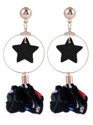 Flower Cloth Wooden Star Circle Drop Earrings -