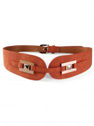 Unique Metal Buckle Suede Wide Waist Belt -