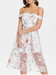 Floral Off The Shoulder A Line Dress -