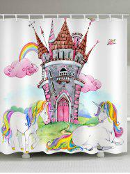 Unicorn Rainbow Castle Printed Waterproof Bath Curtain -