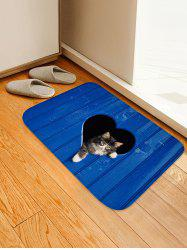 Love Heart Shape Hole and Cat Printed Area Mat -