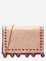 Embroidery Heart Straw Crystals Embellished Crossbody Bag -