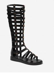 Strappy Mid Calf Gladiator Chic Sandals -