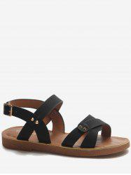 Low Heel Buckle Strap Crisscross Sandals -