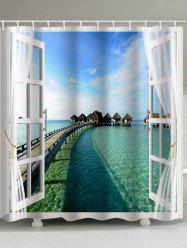 Sea View outside Window Printed Bathroom Shower Curtain -