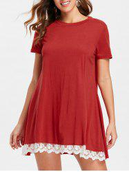 Lace Hemline Short Sleeve Shift Dress -