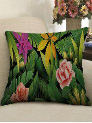 Tropical Plants Print Decorative Linen Sofa Pillowcase -