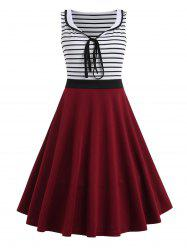 Striped Panel Sleeveless Fit and Flare Dress -