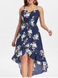 Floral Print Asymmetrical Slip Dress -
