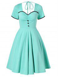 Vintage Buttons Open Back Skater Dress -