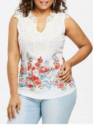 Plus Size Floral Lace Trim V Neck Tank Top -