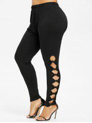 Plus Size Bowknot Cut Leggings -