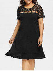 Lace Panel Plus Size Ladder Cut Out Dress -