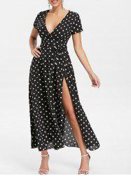 Polka Dot Long Surplice Dress -